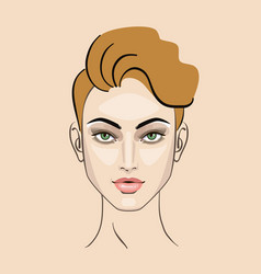 woman girl hairstyle portrait makeup for beauty vector image