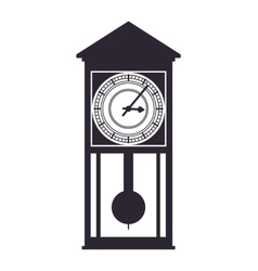 Wood clock house time traditional icon vector