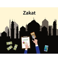 Zakat concept moslem islam count counting money vector