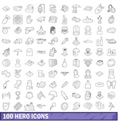 100 hero icons set outline style vector image vector image