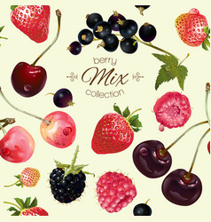 Mix berries seamless pattern vector