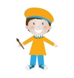 Child dressed as painter icon image vector