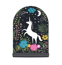 unicorn with flowers fantasy vector image