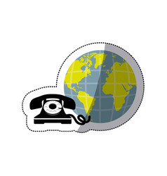 sticker opaque earth world with silhouette antique vector image