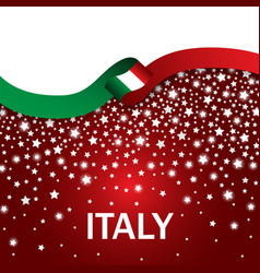 italy sport style flag ribbon falling stars style vector image