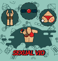 Sexual vio flat icons set vector
