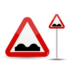 Road sign warning uneven road in red triangle vector