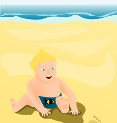 Little child playing on the beach vector