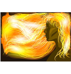 Girl with flaming hair vector