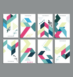 Flyers abstract geometric style templates vector
