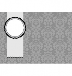 floral pattern and ribbon frame vector image