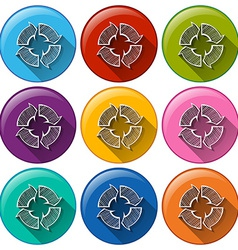 Buttons with recycle arrows vector