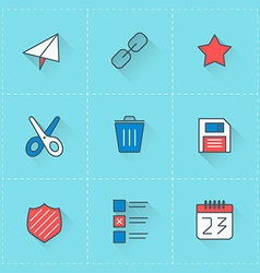 Icon set in flat design style for web site design vector
