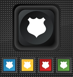 Shield icon sign symbol squared colourful buttons vector