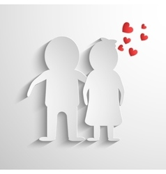 Paper cut people and hearts vector