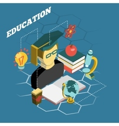 Education reading concept isometric banner vector