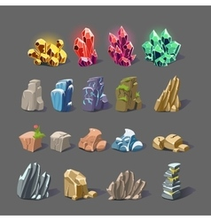 Magic crystal and rock textures vector