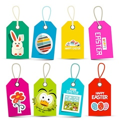 Easter paper labels set isolated on white vector