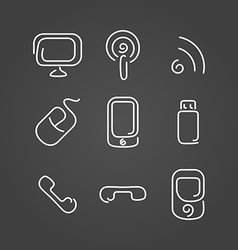 Electronics and mobile set icons draw effect vector