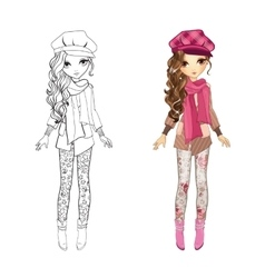 Coloring book of girl in coat vector