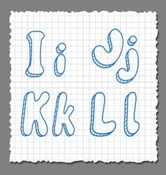 sketch 3d alphabet letters - IJKL vector image