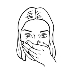Portrait of surprised or amazed woman vector