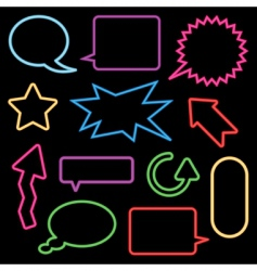 neon speech bubbles and signs vector image