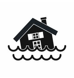 House sinking in a water icon simple style vector image