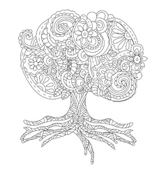 a fluffy big tree tattoo vector image