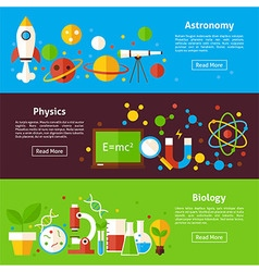 Astronomy physics biology science flat horizontal vector