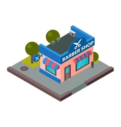 barber shop isometric building isolated vector image vector image