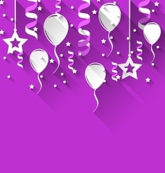 Birthday background with balloons stars and vector