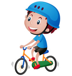 boy on bike wearing blue helmet vector image