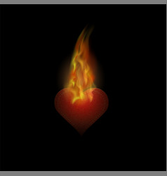 burning heart sticker with fire and flame vector image