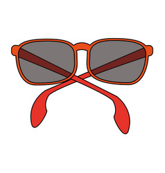 Color image cartoon sunglasses with red contour vector