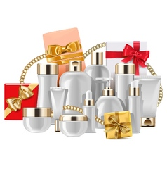 Cosmetic packaging with gifts vector