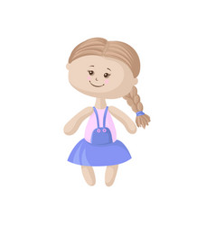 cute soft doll in a blue dress with braid sewing vector image vector image
