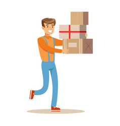 Delivery service worker hurrying with pile of vector