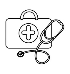 figure suitcase health with stethoscope icon vector image vector image