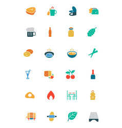 Food and drinks colored icons 11 vector