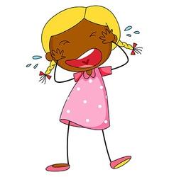 Girl crying vector image vector image