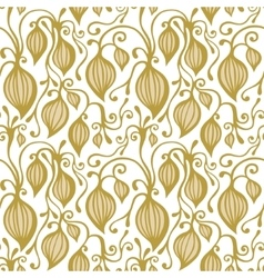 Gold floral seamless lace pattern vector