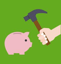 hand holding hammer prepare for crashing piggy vector image vector image