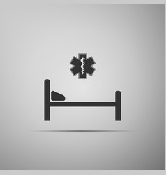 hospital bed with star of life icon isolated vector image