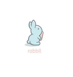 isolated cartoon cute blue rabbit baby with orange vector image