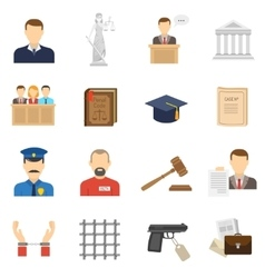 Justice flat icons set vector