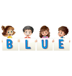 kids holding sign for blue vector image vector image
