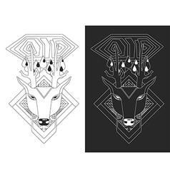 Linear of deer head vector image vector image