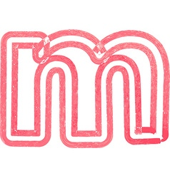 lowercase letter m drawing with Red Marker vector image vector image