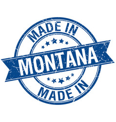 Made in montana blue round vintage stamp vector